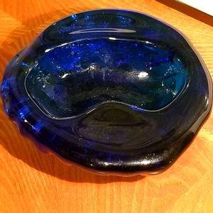 Vintage Blenko Art Glass Cobalt Blue Ashtray